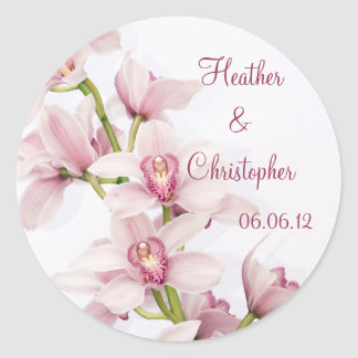 Pegatinas rosados del boda de la orquídea del pegatina redonda