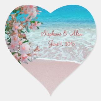 Pegatinas rosados del boda de playa de la arena pegatina en forma de corazón