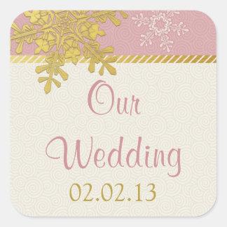 Pegatinas rosados del boda del invierno del copo calcomanía cuadradase