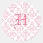 Pegatinas rosados del boda del monograma pegatinas redondas