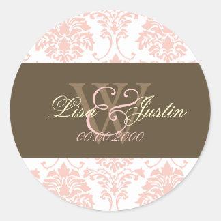Pegatinas rosados del boda del monograma del pegatina redonda