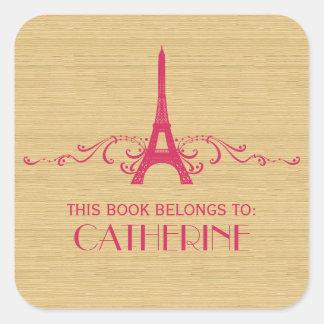 Pegatinas rosados del Bookplate del Flourish del Pegatina Cuadrada