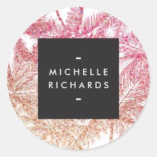 Pegatinas rosados/del bronce tropicales del brillo pegatina redonda