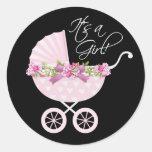 Pegatinas rosados del carro de bebé pegatinas redondas