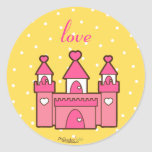 Pegatinas rosados del castillo pegatina redonda