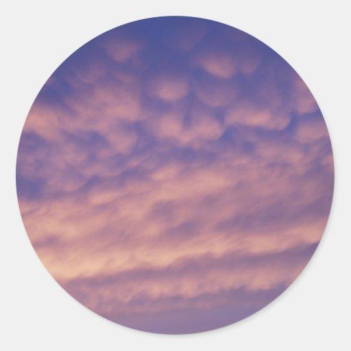 Pegatinas rosados del cielo etiqueta redonda