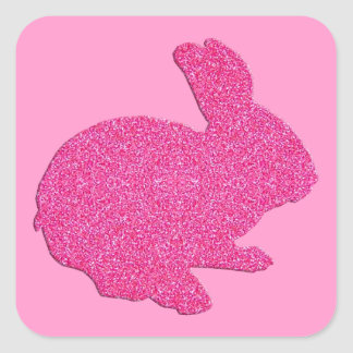 Pegatinas rosados del conejito de pascua de la pegatina cuadrada