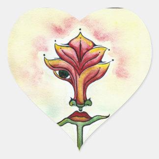 Pegatinas rosados del corazón de la flor calcomanía de corazón