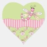 Pegatinas rosados del corazón de la libélula pegatina de corazón personalizadas