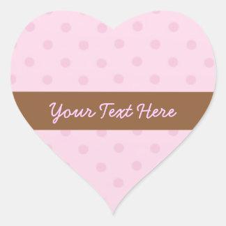 Pegatinas rosados del corazón de los lunares pegatina en forma de corazón