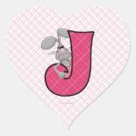 """Pegatinas rosados del corazón del monograma """"J"""" Calcomanía De Corazón"""