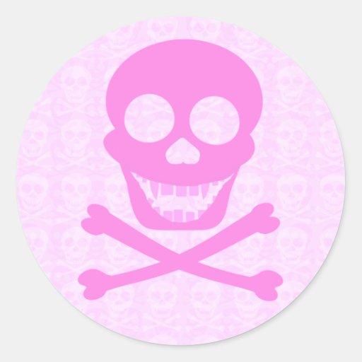 Pegatinas rosados del cráneo y de la bandera pegatina redonda