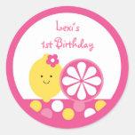 Pegatinas rosados del cumpleaños de la limonada