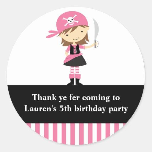 Pegatinas rosados del cumpleaños del chica del pegatina redonda