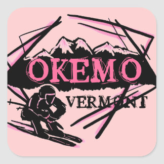 Pegatinas rosados del esquí de la montaña de Okemo Pegatina Cuadrada