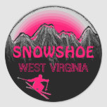 Pegatinas rosados del esquí de Virginia Occidental
