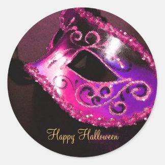 Pegatinas rosados del fiesta de Halloween de la Etiqueta Redonda