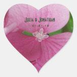 Pegatinas rosados del Hydrangea Pegatina De Corazón