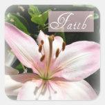 Pegatinas rosados del lirio de la fe calcomanías cuadradass personalizadas