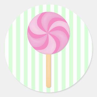 Pegatinas rosados del Lollipop Pegatina Redonda