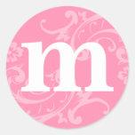 Pegatinas rosados del monograma