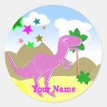 Pegatinas rosados del nombre del dinosaurio de etiqueta redonda