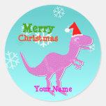 Pegatinas rosados del nombre del dinosaurio del pegatina redonda