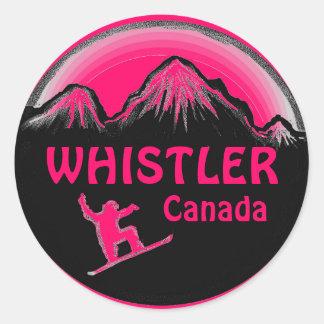 Pegatinas rosados del snowboarder de Canadá de la Pegatina Redonda