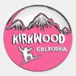Pegatinas rosados del snowboarder de Kirkwood Pegatina Redonda