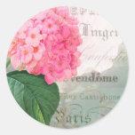 Pegatinas rosados del sobre del Hydrangea Pegatina Redonda