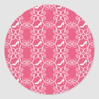Pegatinas rosados del tacón alto pegatina redonda
