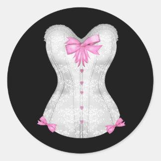 Pegatinas rosados elegantes del corsé pegatina redonda