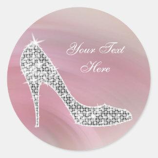 Pegatinas rosados elegantes del zapato del tacón pegatina redonda
