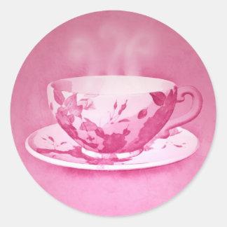 Pegatinas rosados encantadores de la taza de té pegatinas redondas