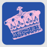 Pegatinas rosados grandes de la corona o de la tia