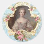 Pegatinas rosados jovenes de los rosas de Marie Pegatina Redonda