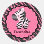 Pegatinas rosados lindos de la cebra y del pegatinas redondas