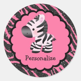 Pegatinas rosados lindos de la cebra y del pegatina redonda