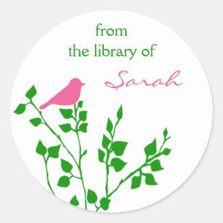 Pegatinas rosados personalizados de la biblioteca pegatina redonda