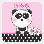 Pegatinas rosados personalizados de la panda