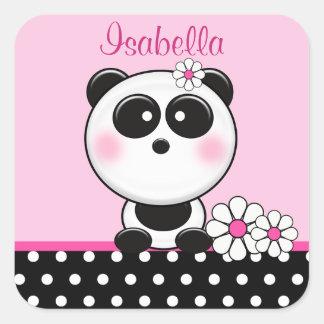 Pegatinas rosados personalizados de la panda pegatina cuadrada