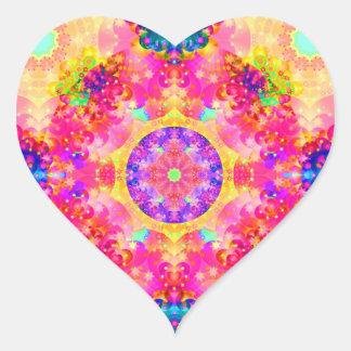 Pegatinas rosados y amarillos del fractal del pegatina en forma de corazón