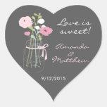 Pegatinas rosados y grises del favor del boda del calcomanía corazón