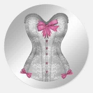 Pegatinas rosados y grises elegantes del corsé pegatina redonda