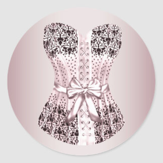 Pegatinas rosados y negros elegantes del corsé pegatinas redondas