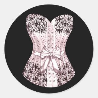 Pegatinas rosados y negros elegantes del corsé pegatina redonda