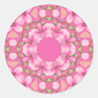 Pegatinas rosados y verdes bonitos pegatina redonda