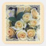 Pegatinas - rosas amarillos cremosos en cordón calcomania cuadradas