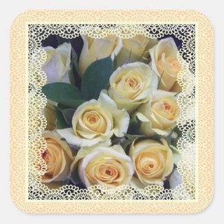 Pegatinas - rosas amarillos cremosos en cordón pegatina cuadrada