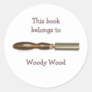 Pegatinas Roughing del Bookplate de Woodturning Pegatina Redonda